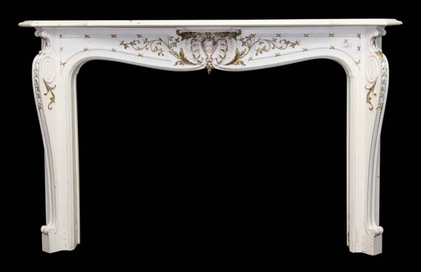 Figural White & Gold Wood Mantel French Style