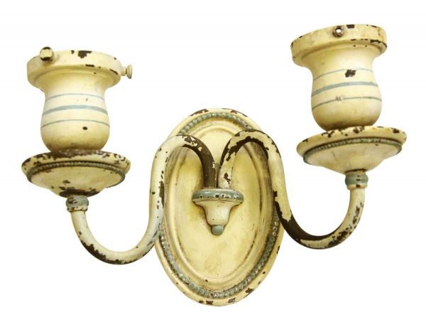 Brass Beaded Double Arm Sconce