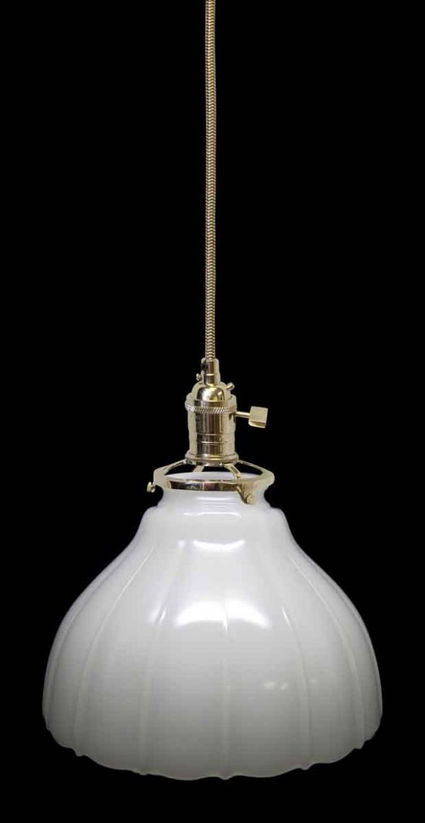 Fluted Antique Milk Glass Shade