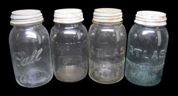 Set of Four Colored Variety Canning Jars