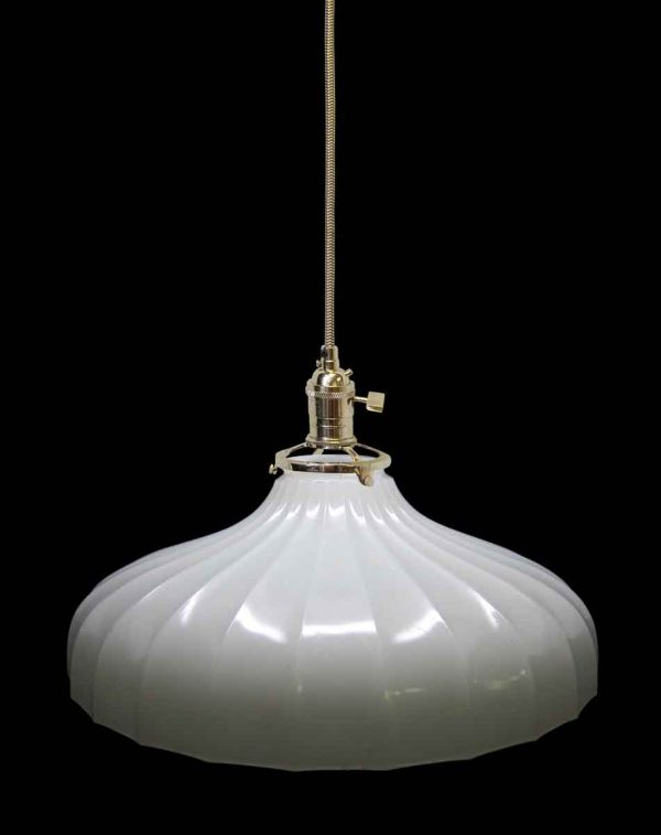 Fluted 1920s Milk Glass Shade Pendant