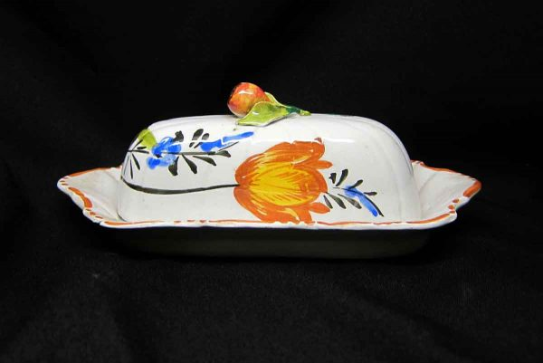 Hand Painted Floral Butter Dish