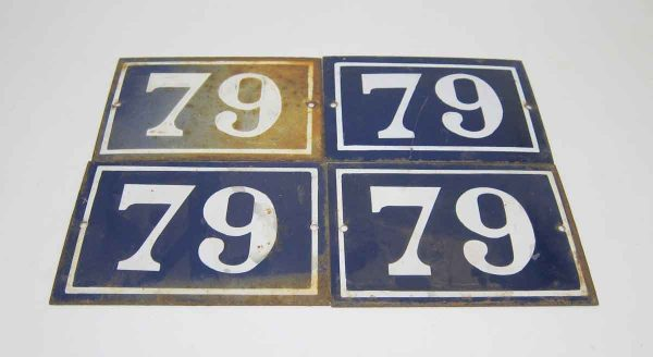 Blue & White Enamel Number 79 Sign