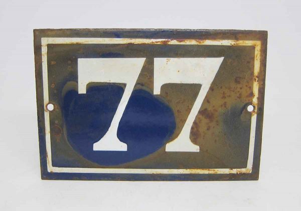 Blue & White Enamel Number 77 Sign