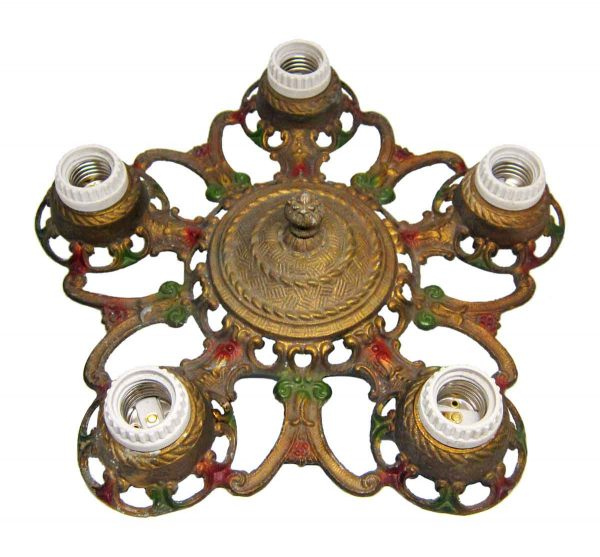 Brass Five Light Flush Mount Fixture