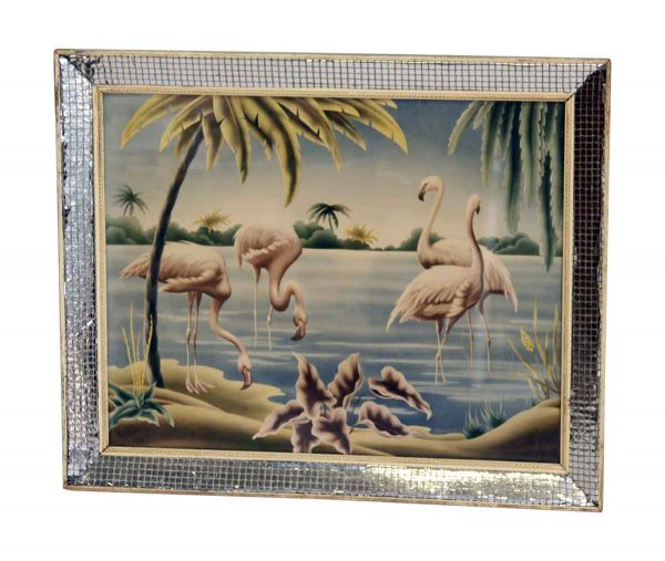 Tiled Mirror Framed Flamingo Print