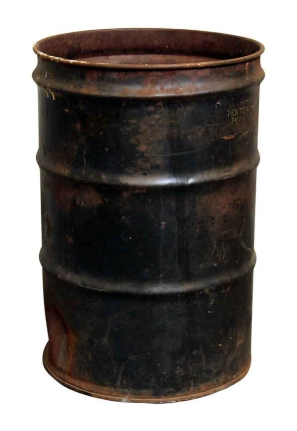 Large Black Rusted Trash Barrel Can