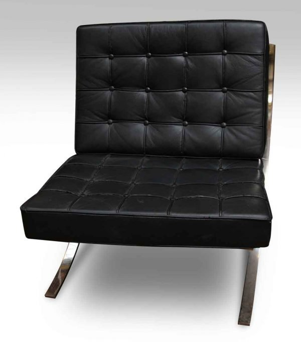 Black Leather Barcelona Style Chair