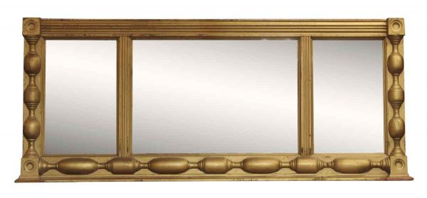 Victorian Three Part Gold Painted Wood Mirror