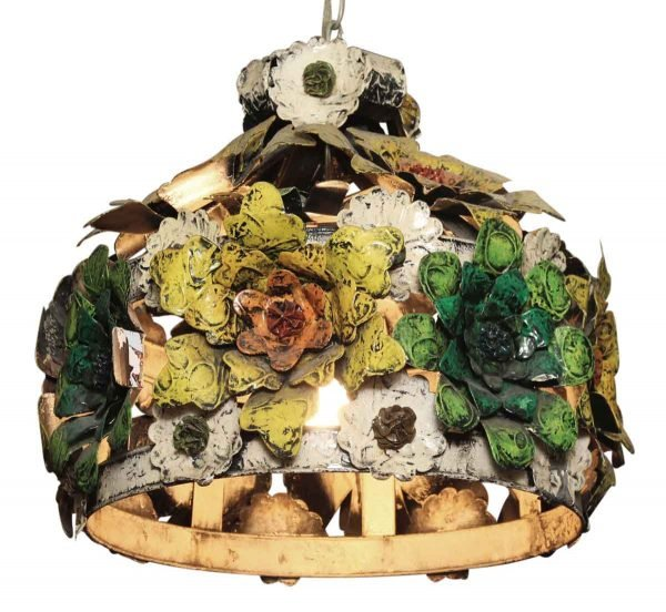 Pretty Applied Metal Floral Painted Light