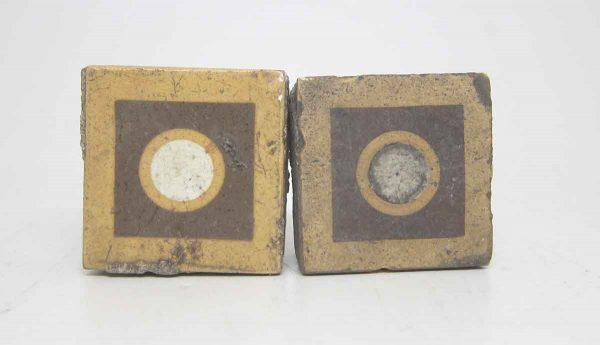 Set of Two Small Bulls Eye Square Tiles