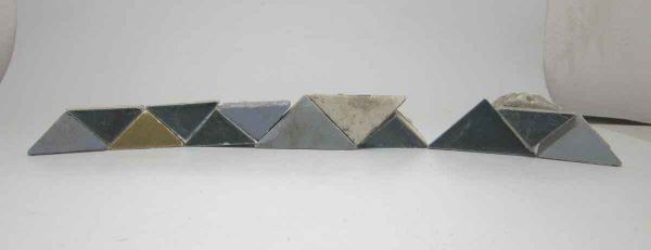 Set of Blue Matted Triangle Tiles