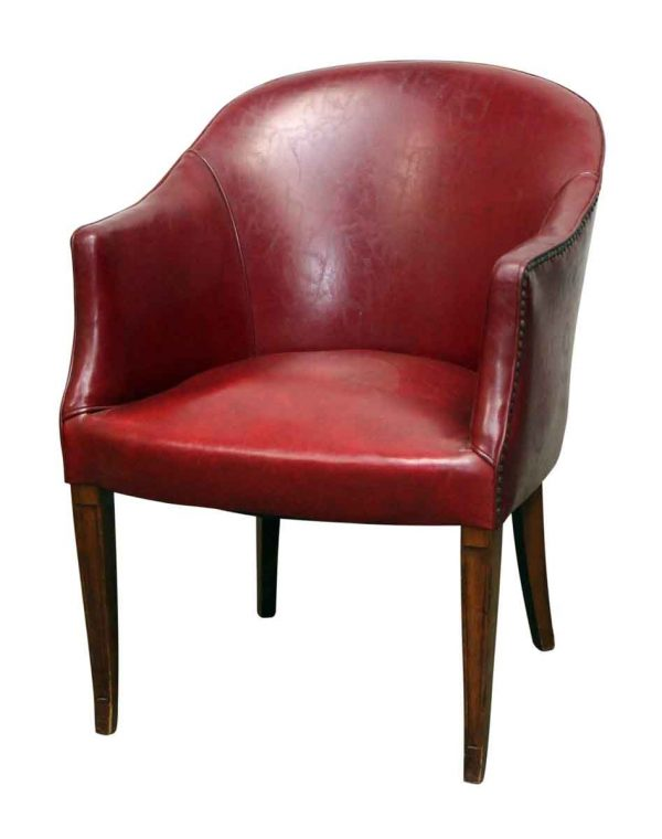 Red Studded Leather Like Chair