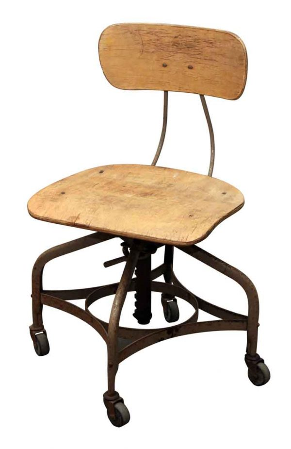 Rolling Wood & Metal Toledo Stool