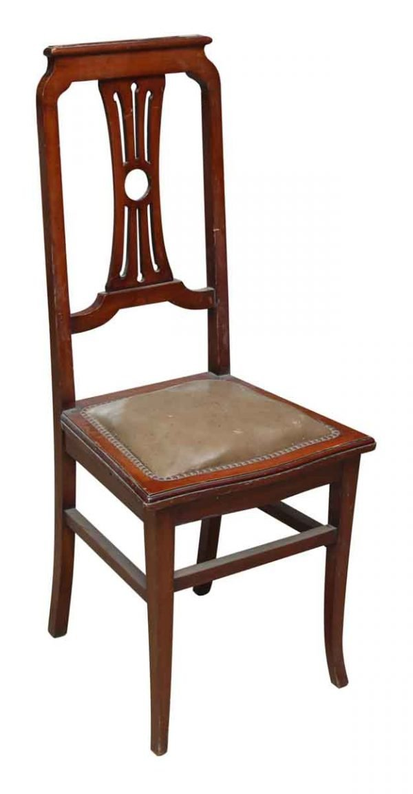 Set of Six Tall Lyre Back Wood Dining Chairs with Leather Seat