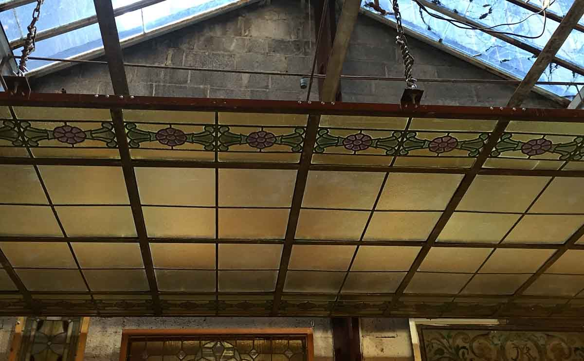 Large antique rectangular skylight with floral stained for Large skylights
