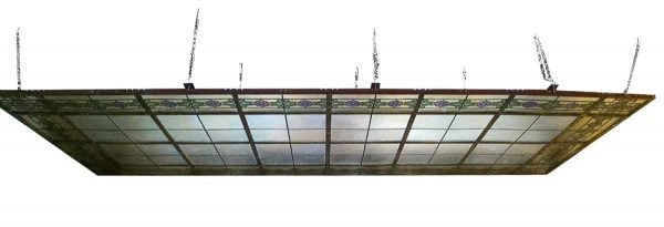 Large Antique Rectangular Skylight with Floral Stained Glass Border