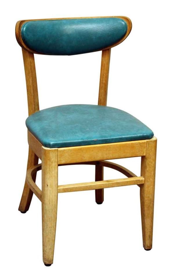 Light Wood Frame Chair with Teal Upholstery