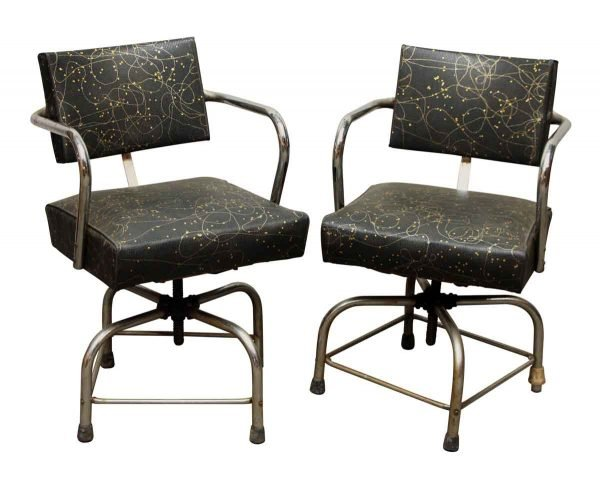 Pair of Black & Gold Retro Stools