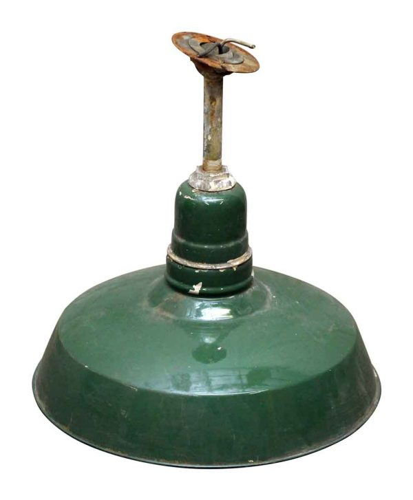 Green Metal Shade Pole Pendant Light