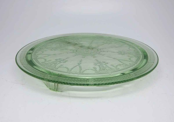 Dark Green Glass Cake Plate