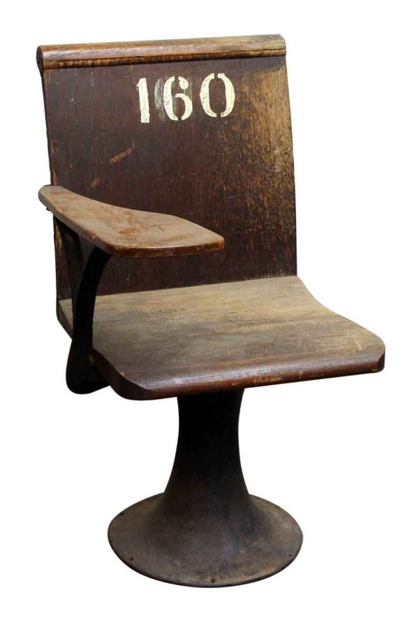 Wooden Desk Seat with Iron Base