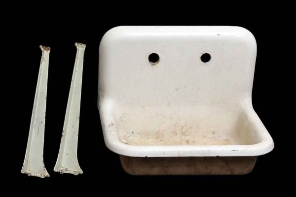 White Salvaged Wall Sink with Legs