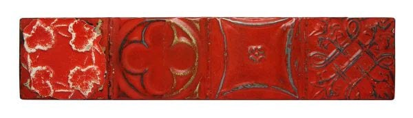 Red Shellac Tin Mixed Pattern Long Panel