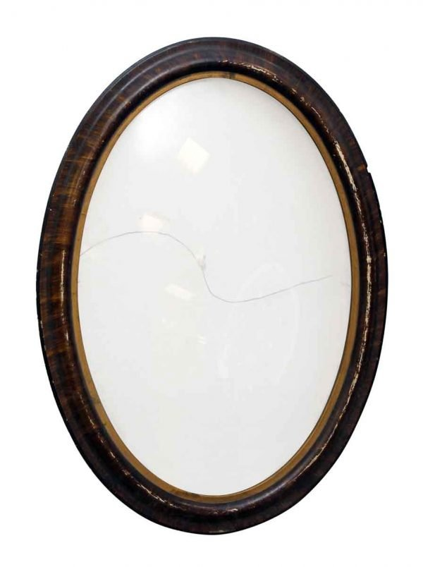 Oval Wood Picture Frame with Original Bubble Glass