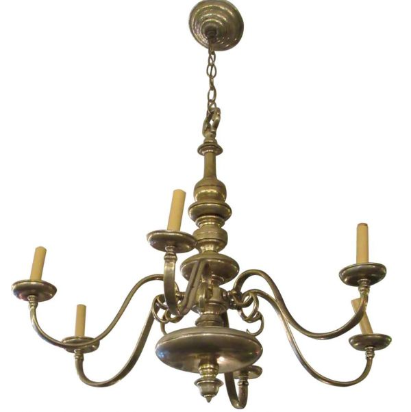 Brass Silver Plated Six Arm Chandelier