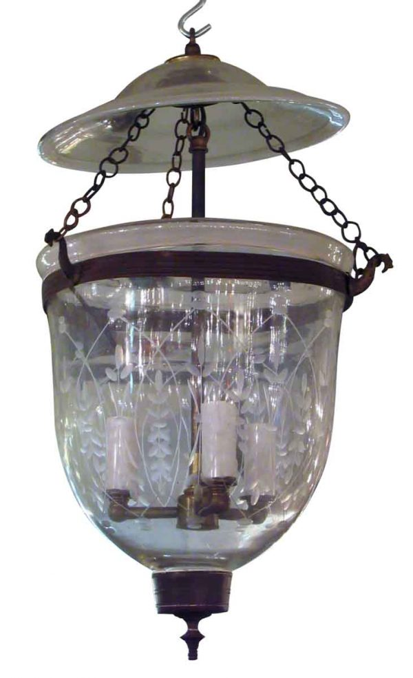 Glass Bell Jar with Etched Wheat Design