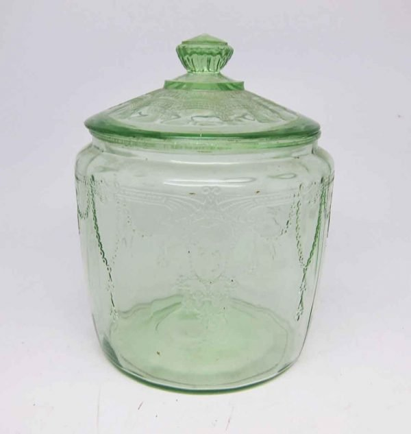Clear Light Green Vintage Glass Jar with Lid