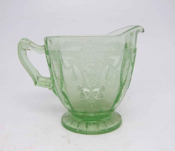 Clear Green Vintage Glass Milk Pourer