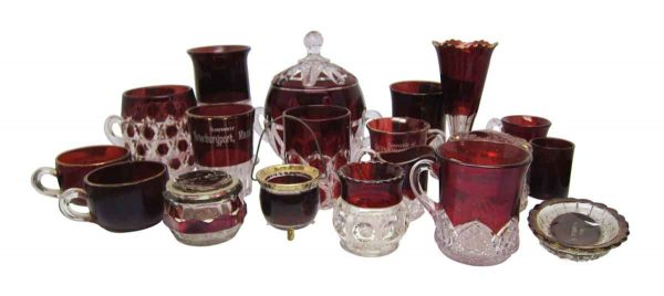 Red Ruby Flashed Souvenir Glassware
