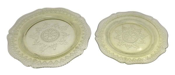 Set of Two Vintage Yellow Glass Plates