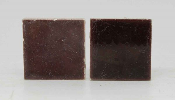 Pair of Small Square Burgundy Tiles