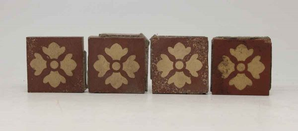 Set of Four Clover Square Burgundy Tiles
