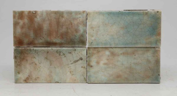 Set of Four Crackly Brown & Blue Mix Tiles