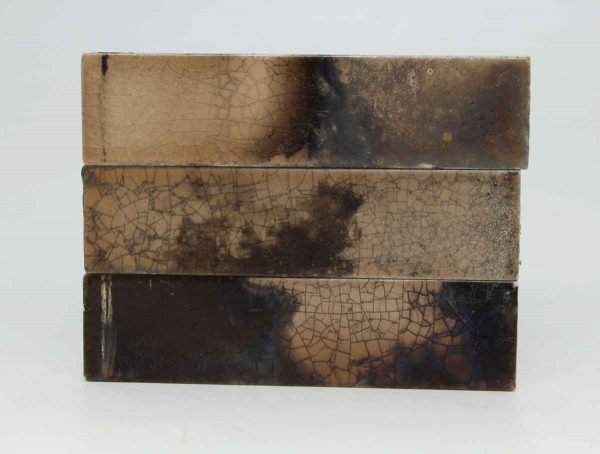 Set of Three Crackled Brown Iridescent Tiles