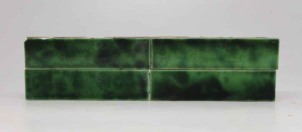 Set of Four Long Dark Green Mix Tiles