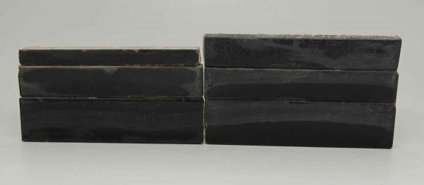 Set of Six Long Black Mixed Tiles
