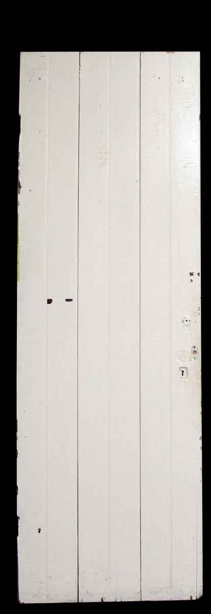 White Wooden Door with Three Long Vertical Panels