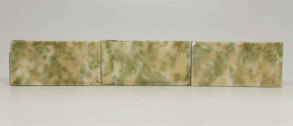 Set of Six Green Crackled Yellow Mixed Tiles