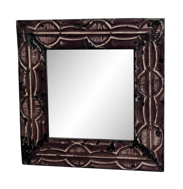 Purple Antique Tin Mirror with Dumbbell Design