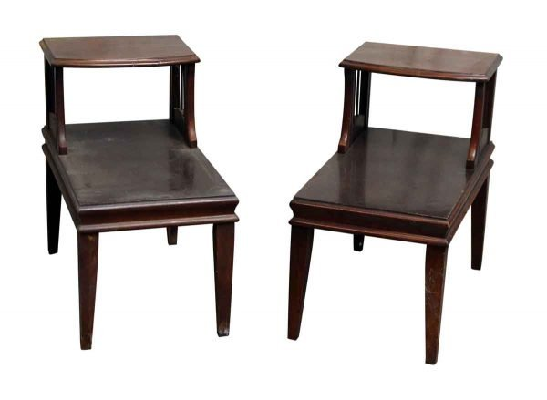 Pair of Wooden Two Tiered End Tables