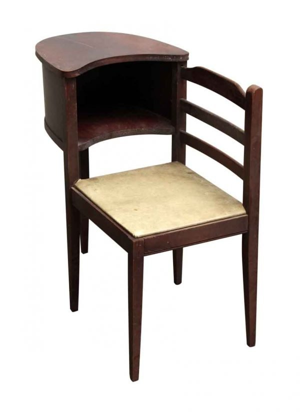 Antique Telephone Desk with Attached Seat