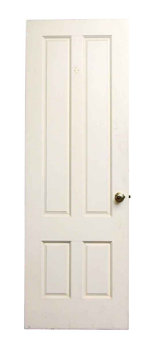 Wooden White Doors with Four Vertical Panels and Hardware