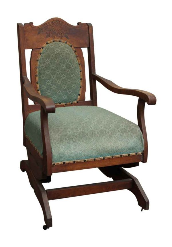 Rocking Chair with Green Upholstery