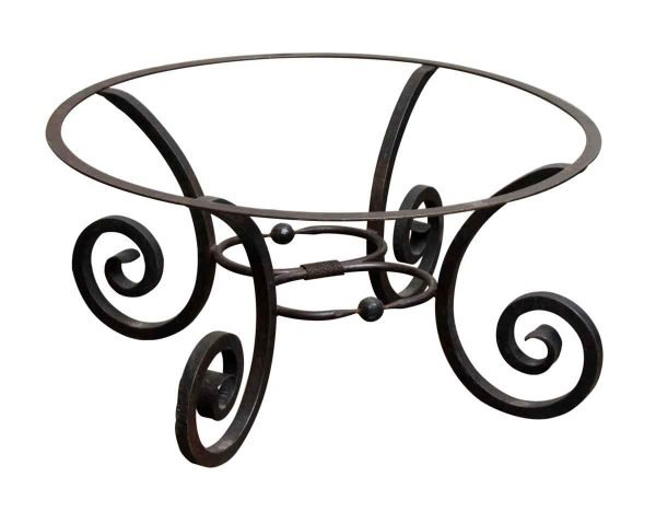 Black Round Table Base with Curled Legs