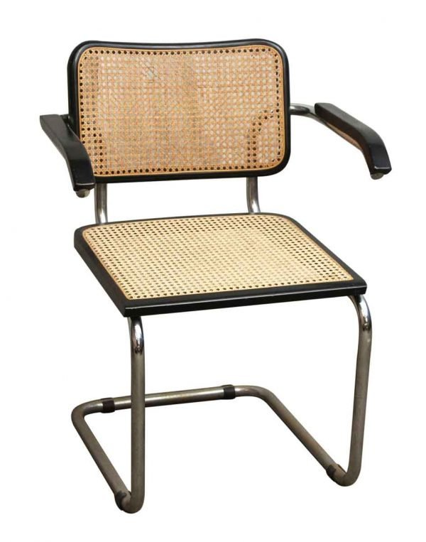 Set of Four Wicker and Metal Armchairs